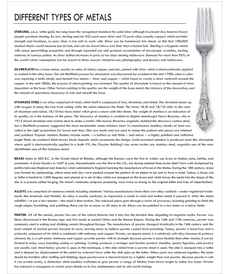 Dinnerware Metals Types